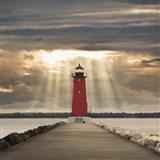 Manistique Lighthouse & Sunbeams, Manistique, Michigan '14 - Color