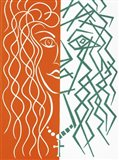 Two Faces of the Same Coin - Orange/Green