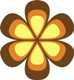 Mod Flowers Cut out Brown
