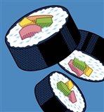 Sushi Rolls On Blue