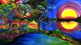 Colorful Psychedelic Rainbow Lake Art