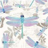 Vintage Botanicals Dragonfly Pattern Aqua