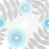 Flowers And Leaves Pattern Baby Blue