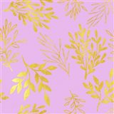 Golden Leaves on Pink Pattern
