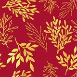 Golden Leaves on Venetian Red