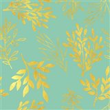 Golden Leaves Pattern Aquamarine