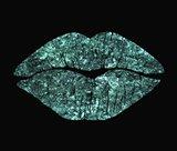 Teal Glitter Kiss