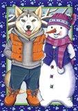 Husky Snowman