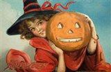 Halloween Girl Blue Sky Pumpkin