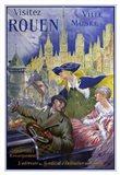 Visitez Rouen, French Vintage Poster Bonnet, Visitez Rouen 1910