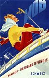 1940s Swiss Rail Ski Travel poster