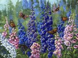 Butterfly And Delphinium