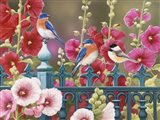 Iron Fence with Hollyhocks