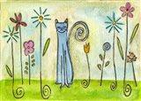 Blue Cat In The Flower Garden