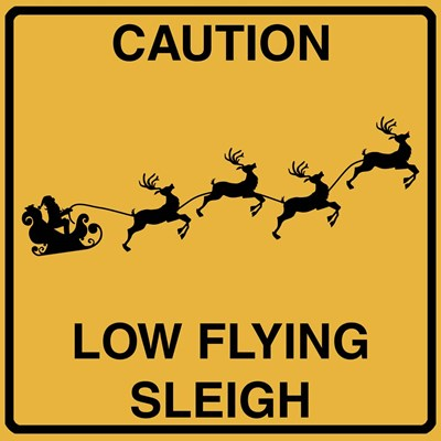 Low Flying Sleigh Poster by Tina Lavoie for $48.75 CAD