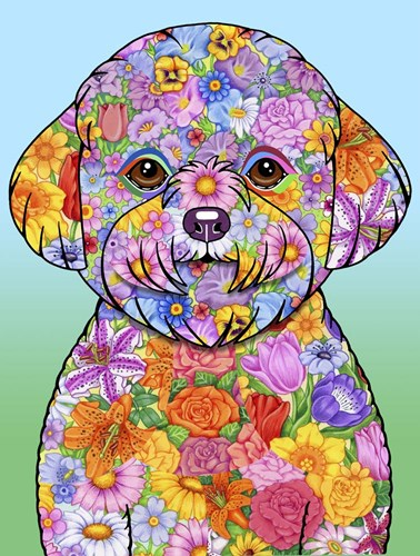 Flowers Bichon Frise Poster by Tomoyo Pitcher for $41.25 CAD