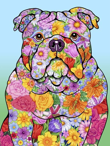 Flowers Bulldog Poster by Tomoyo Pitcher for $41.25 CAD