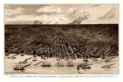 Birds Eye View Of Detroit Michigan 1889 Poster by Vintage Lavoie for $43.75 CAD