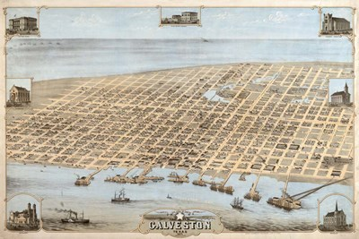 Map Of Galveston Texas 1871 Poster by Vintage Lavoie for $43.75 CAD