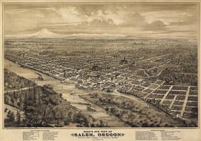 Salem Oregon 1876 Birds Eye View Poster by Vintage Lavoie for $46.25 CAD