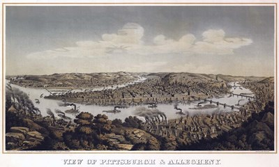 View Of Pittsburgh And Allegheny Pennsylvania 1874 Poster by Vintage Lavoie for $47.50 CAD