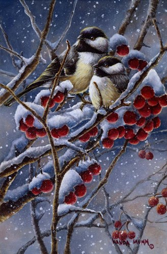 Winter Chickadees And Berries Poster by Wanda Mumm for $45.00 CAD