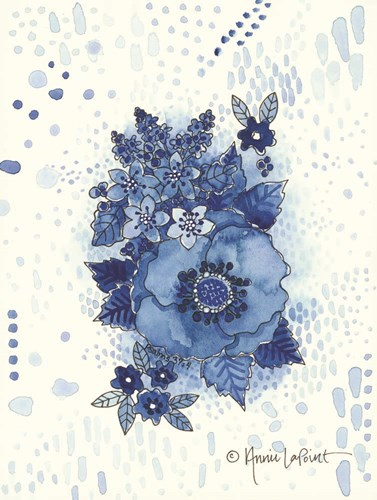 Crazy Blue Flowers Poster by Annie Lapoint for $41.25 CAD