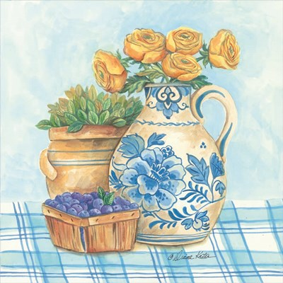 Blue and White Pottery with Flowers II Poster by Diane Kater for $35.00 CAD