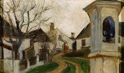 Bare Trees, Houses, and Shrine (Klosterneuburg, Austria) Poster by Egon Schiele for $60.00 CAD