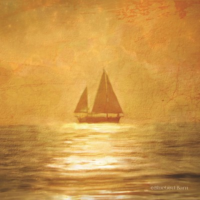 Solo Gold Sunset Sailboat Poster by Bluebird Barn for $96.25 CAD