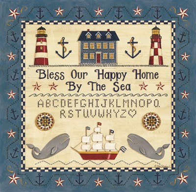 Bless our Happy Home by the Sea Sampler Poster by Deb Strain for $33.75 CAD