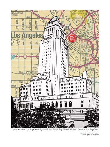 Los Angeles City Hall Poster by Lyn Nance and Stephen Sasser for $67.50 CAD