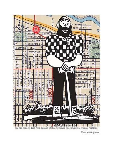 Paul Bunyan Statue Portland Poster by Lyn Nance and Stephen Sasser for $67.50 CAD