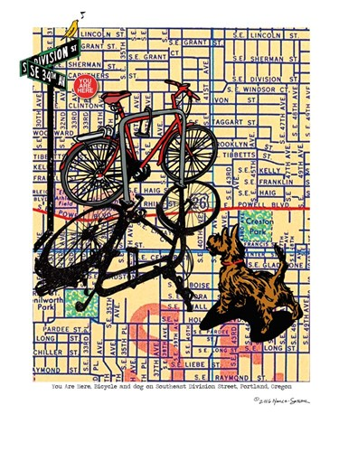 Bicycle and Dog Division Portland Poster by Lyn Nance and Stephen Sasser for $67.50 CAD