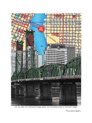 Hawthorne Bridge Portland Poster by Lyn Nance and Stephen Sasser for $67.50 CAD