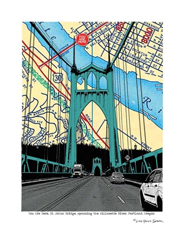 St. John's Bridge Portland Poster by Lyn Nance and Stephen Sasser for $67.50 CAD