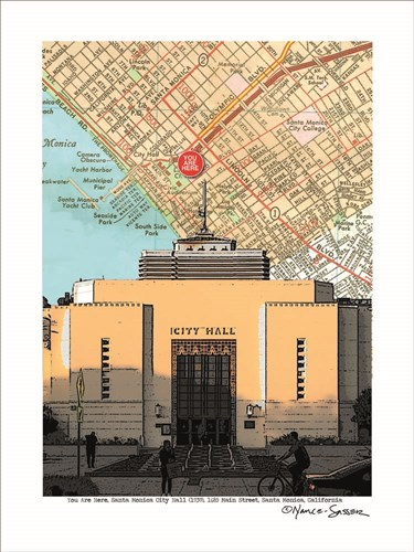 Santa Monica City Hall Poster by Lyn Nance and Stephen Sasser for $67.50 CAD