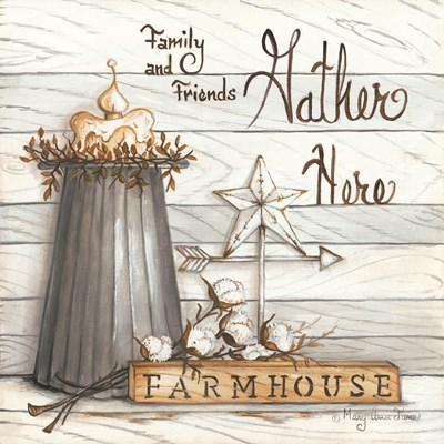 Farm House - Gather Here Poster by Mary Ann June for $35.00 CAD