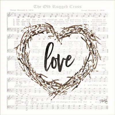 Old Rugged Heart Love Wreath Poster by Marla Rae for $35.00 CAD