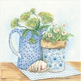 Blue and White Pottery with Flowers I