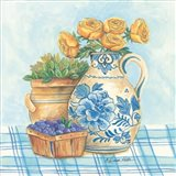 Blue and White Pottery with Flowers II
