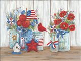 Patriotic Glass Jars with Flowers