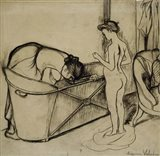 Woman Cleaning a Tub and a Nude, 1908
