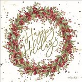 Happy Holidays Berry Wreath