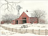 Winter Barn with Windmill