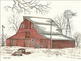 Winter Barn with Pickup Truck