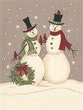 Wreath & Cardinal Snowmen