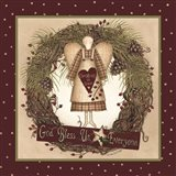 Folk Angel Christmas Wreath