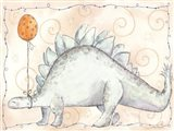 Blue Stegosaurus with Orange Balloon