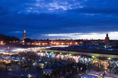 MOROCCO, MARRAKECH: Djemma el, Fna Square Evening Poster by Walter Bibikow / Danita Delimont for $80.00 CAD